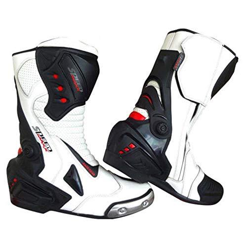 SPEED MAXX LTD Chaussures de Sport en Cuir pour Homme Blanc et Noir