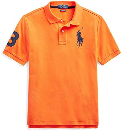 Polo Ralph Lauren Boys Embroidered Pique Polo Shirt Bright Signal Orange Small 8 product image