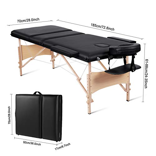 MaxKare Portable Massage Table 84'' With Carrying Bag & Accessories, 3 Fold,...