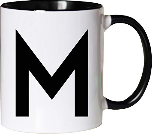 Mister Merchandise Becher Tasse Buchstabe M Kaffee Kaffeetasse liebevoll Bedruckt Anfangsbuchstabe Initial Initialien Weiß-Schwarz
