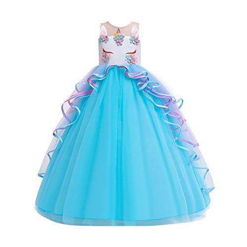 IMEKIS Vestido de unicornio para nias con volantes, tut de tul, princesa, elegante, para boda, cumpleaos, sin mangas, largo, disfraz de concurso, fiesta, vestido de noche de 4 a 15 aos