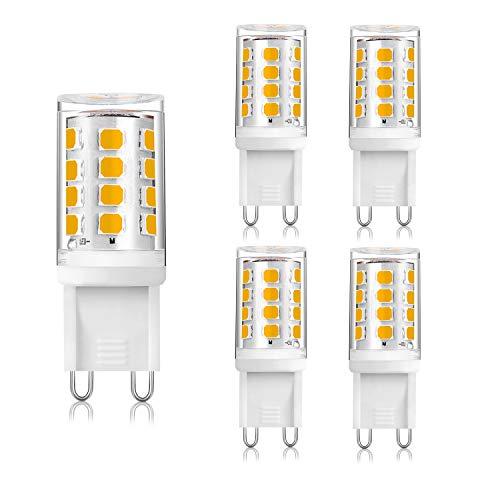 Bombilla LED G9, 2 W, equivalente a 20 W, luz blanca cálida, 3000 K, bajo consumo, para 20 W, 28 W halógeno, AC 220 – 240 V, sin parpadeo, ángulo de haz de 360°, casquillo G9, 5 unidades Yuip