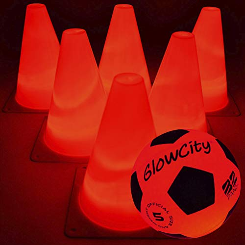 GlowCity Light-Up Soccer Ball and Cones – Blazing Red Edition Glow-in-The-Dark Size Official 5 Ball and 6 LED Agility Cones – Ideal for Youth Training, Indoor or Outdoor Play - Batteries Fitted (Red)