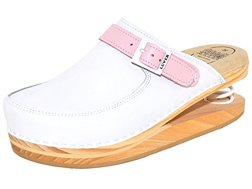 LUVER gefederte Damen Clogs weiß/rosa - Federschuhe - clgjr127wr, Weiß, Größe: 39