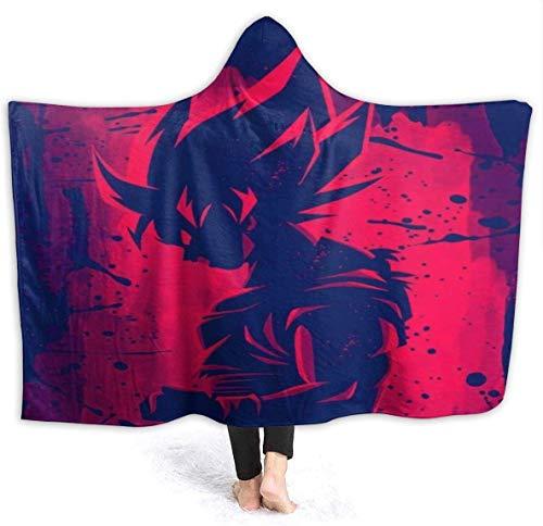 NR Manta con capucha de anime Dragon Ball Z Red Goku Mantas de forro polar sherpa usable abrazo, cálido y suave con capucha para adultos, hombres y mujeres, 50 x 40 pulgadas, 50 x 40 pulgadas