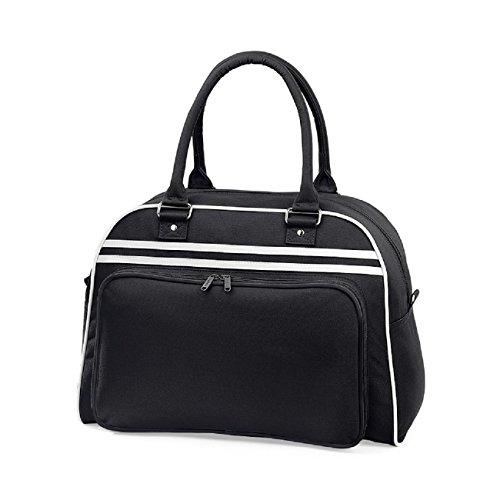 BagBase, Retro Bowling Bag Sport Bag, Schwarz - Schwarz/Weiß - Größe: One size