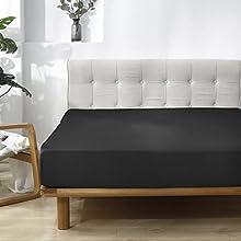 HAIBA Sábana bajera extra profunda para cama de polialgodón súper suave, no planchado, ropa de cama, individual, negro, US-K 198 x 203+30 cm