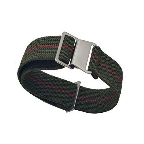 KZFASHIONS Watch Strap, 18mm 20mm 22mm Nylon Elastic Watch Strap Silver Buckle Parachute Watch Band Military Bracelet (20mm, Green red)