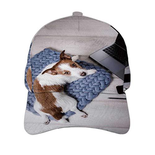 Little Dog at The Laptop on Floor Russell - New Zealand,Unisex Hip Hop Baseball Cap Flat Bill Brim