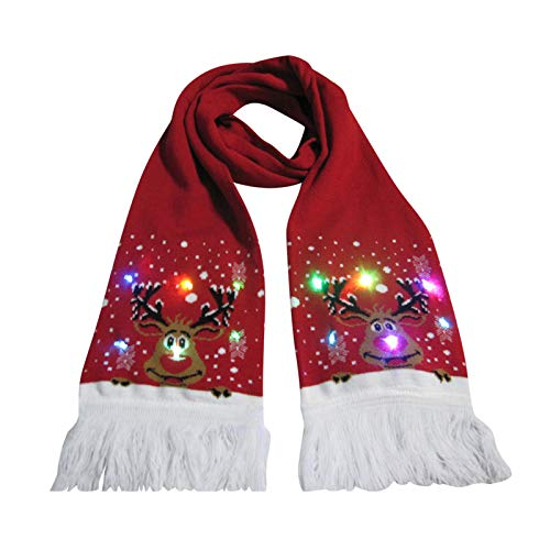 BIBOKAOKE Weihnachten LED-Lichterschal 3 Bunte LED Xmas Weihnachtsschal für Weihnachten, Urlaub, Party, Dekoration, beleuchtet Schal, für Damen und Mädchen
