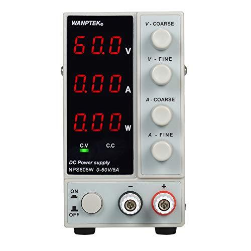 KKmoon NPS605W 0-60V 0-5A Alimentatore CC a Commutazione a 3 Cifre Display LED Alimentatore Regolabile ad Alta Precisione Mini AC 115V / 230V 50 / 60Hz Tensione e Corrente a Doppia Uscita Regolata