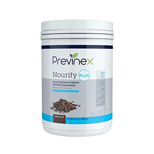 Previnex Nourify PLUS Plant Based Protein Shake - All Natural Vegan Protein Powder, High Protein & Low Sugar, Gluten Free, Soy Free & Dairy Free, Chocolate (29.3 oz)
