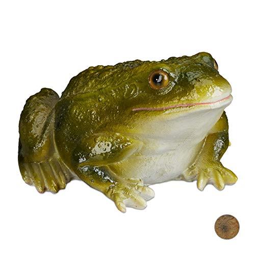 Relaxdays Gartenfigur Frosch, wetterfest, für Balkon, Terrasse, am Teich, Kunststein, sitzende Dekofigur Frosch, grün