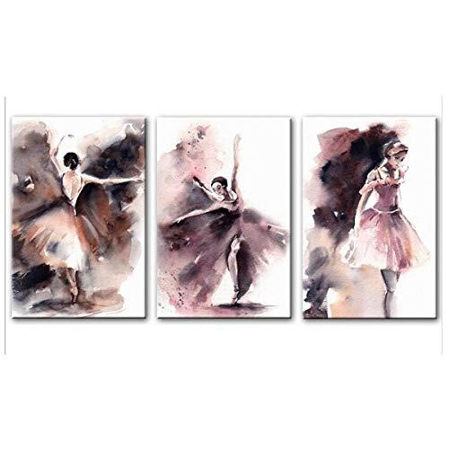 Jwqing 3 stück Aquarell Ballerina Wand Poster Und Drucke Ballett Mädchen Wandkunst Leinwand Moderne Protrait Der Ballerina Leinwand Kunst (40x60 cm kein Rahmen)