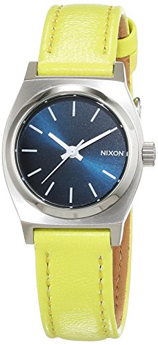 Nixon Damen-Armbanduhr Small Time Teller Navy/Neon Yellow Analog Quarz Leder A5092080-00