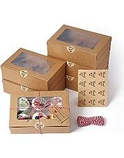 EZOLY 15 zestawów Pude³ka na babeczki ze sznurkiem i okienkiem, 6 wbudowanych uchwytów na mini ciastka, 23,5 x 15,8 x 7,5 cm, na wypieki, ciastka, ma³e ciastka, ciasta, babeczki