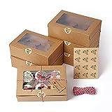 EZOLY 15 conjuntos Cajas para cupcakes con cuerda y ventana, 6 soportes incorporados para mini pasteles, 23,5 x 15,8 x 7,5 cm para pasteles, galletas, tartas pequeñas, pasteles, magdalenas
