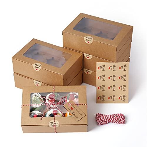 EZOLY 30 Serie Scatole per Cupcake con Corda e Finestra, 6 Supporti incorporati per Mini Torte, 23,5 x 15,8 x 7,5 cm per pasticcini, Biscotti, Torte, Torte, Cupcakes