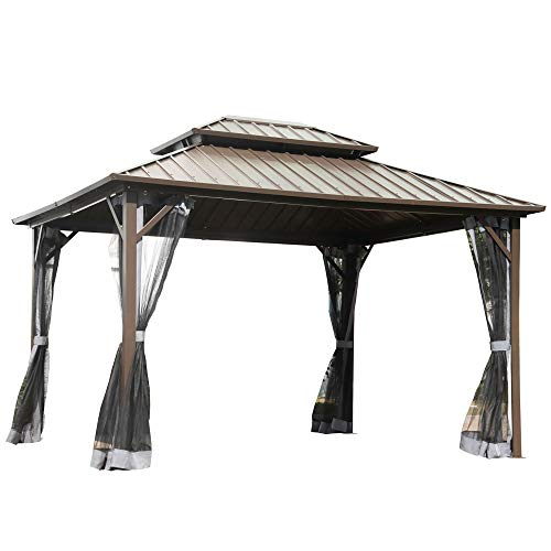 Outsunny 12'x 10' Double Roof Hardtop Patio Gazebo with 4 Side Nettings, Aluminum Frame,Galvanized Steel Top for Backyard Deck