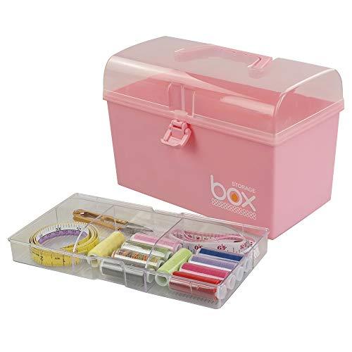 Rinboat Caja Botiquín Medicamentos de Plástico para Primeros Auxilios, Color Rosa, 1 Unidad
