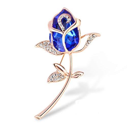 GPWDSN Kunstzinnige edelstenen met kunstmatige diamanten, roséverguld, broche voor dames, cadeau voor Valentijnsdag, accessoires voor jurken (rood)