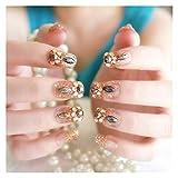 XKC-watches Elegante 24pcs / Set Consejos de uñas completos Falsas Claves con Pegamento para Las Mujeres Fake Nails Finger Nail Art Tips Accesorios de Boda