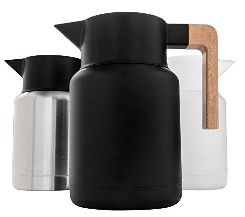 Große Thermo-Kaffeekaraffe – Edelstahl, doppelwandige Thermo-Töpfe für Kaffee und Tee von Hastings Collective – Schwarz, Vakuum-Karaffen mit abnehmbarem Tee-Ei und Sieb | 127 ml