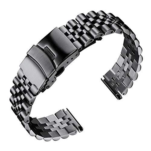 BINLUN Edelstahl Uhrenarmbänder Ersatz Metall Uhrenarmbänder Armband für Herren und Damen (Schwarz, Silber, Gold, Roségold, Gold/Roségold zweifarbig) 5 Größen (18 mm 20 mm 22 mm 24 mm 26 mm)