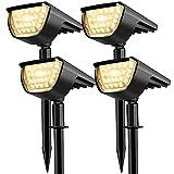 Focos solares para exteriores, 32 LED IP65, impermeables, 3 niveles de brillo, para jardín, caminos de jardín (blanco cálido, 4 unidades)