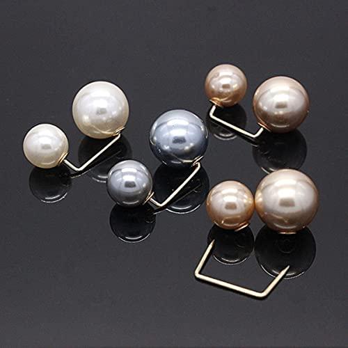 3 unids/set de alfileres de perlas dobles de moda para mujer, broches de diseñador para mujer, accesorios de ropa, joyería de camisa de punto de perlas simuladas