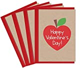 Valentine's Day Cards for Teachers | 4 Teacher Valentine Cards with Envelopes | Made in the USA