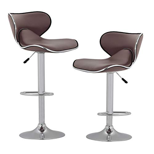 Vnewone Modern Counter Height Bar Stools Set of 2 Swivel Barstools Height Adjustable Seat with Back Dining Kitchen Room Counter PU Comfortable Bar Chairs (Brown)
