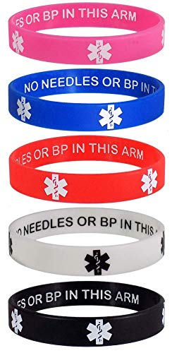 Lymphedema Alert NO NEEDLES OR BP IN THIS ARM Medical Alert ID Privacy Enhanced Wristbands 5 Pack