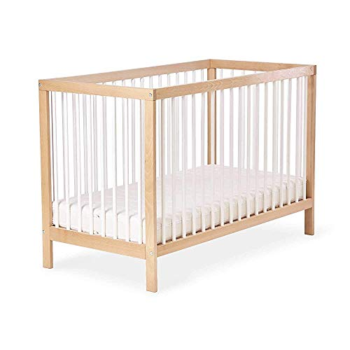 Madera de haya maciza cuna móvil de cuna, colchones ajustables en altura - la cama a juego 124,4 x 64,2 x 84,4 Limi,120x60 cm