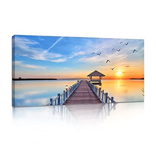 "Woxfcart Sunset Trestle Ocean Landscape Wall Art Seascape Canvas Print Picture Decor Office Living Room Bedroom - Blue Walls Décor ,48""x24"""