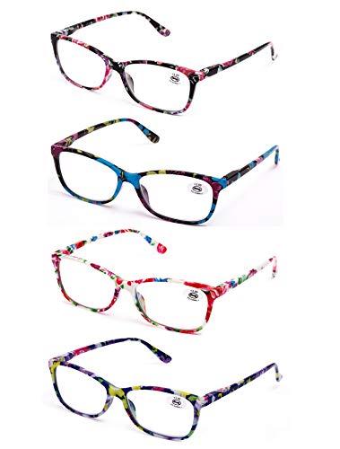 Pack de 4 Gafas de Lectura Vista Cansada Presbicia, Graduadas Dioptrías +1.0hasta +3.50, Gafas de Hombre y Mujer Unisex con Montura de Pasta, Bisagras de Resorte, Para Leer, Ver de Cerca (+150 (809))