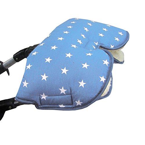 BAMBINIWELT MUFF met lamswol *lichtblauw met witte sterren* knuffelige handwarmer - mof voor kinderwagen, buggy, fietsaanhanger - WOL - sterren