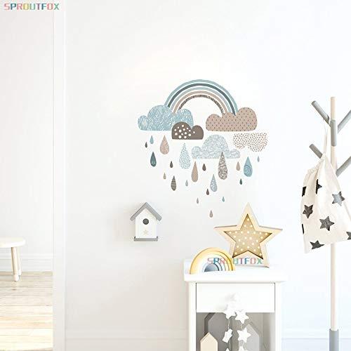 PMSMT Arco Iris Etiqueta de la Pared decoración del hogar Pegatinas de Pared para la habitación de los niños Papel Tapiz de Gota de Agua para la decoración Moderna en la Pared del Dormitorio