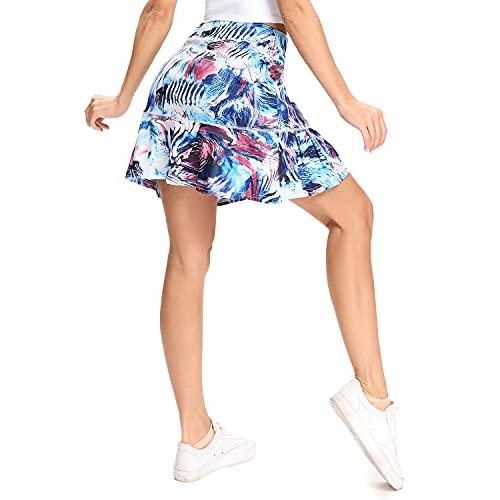 WOWENY Falda Deportiva Pantalones Cortos Deportivos de Secado Rápido para Mujer con Bolsillos Ocultos, Alta Elasticidad, Adecuado de Yoga, Fitness Gym Tenis al Aire Libre