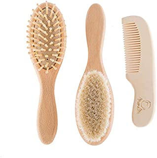 Wooden Baby Hair Brush and Comb Set for Newborns and Toddlers | Eco-Friendly Safe Brush for Cradle Cap | Wood Bristles Baby Brush for Massage | Perfect for Baby Registry