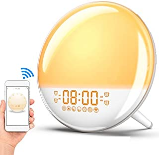 Sunrise Alarm Clock Wake Up Light, Smart WiFi Sunset Simulation Digital LED Clock Supports APP Control with FM Radio,4 Alarms,7 Alarm Sounds, Snooze Function,20 Brightness,7 Colors Bedside Night Light