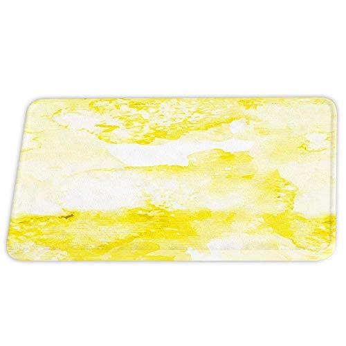 Alfombras de baño de terciopelo coral amarillo y blanco Alfombra de ducha antideslizante de tinta abstracta para juegos de decoración de baño Alfombra de puerta con respaldo de goma Alfombra de piso d