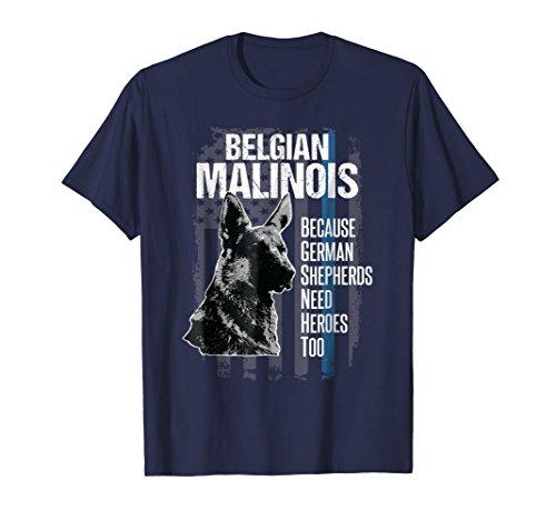Police Dog Malinois Tshirt Funny K9 Thin Blue Line Flag