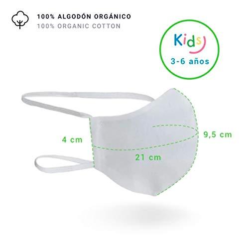 Mascarilla Higiénica Lavable R40 100% Algodón (Infantil 3-6 años, Pack 2 Unidades)