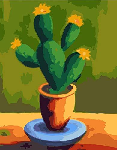 Malen nach Anzahl Kits für Erwachsene und Kinder,act Kaktus》Wohnzimmer Landschaft Cartoon Charakter Home Decoration Malerei Geschenk