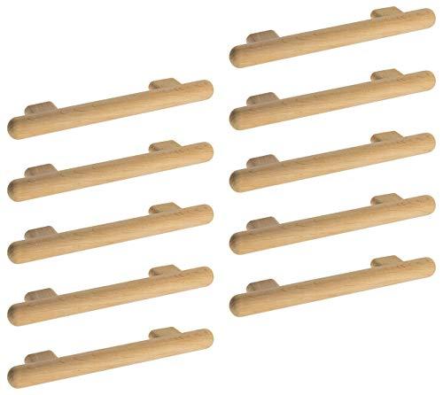 Gedotec Moderner Design Türgriff Schrank-Tür Schubladengriff rund Holz-Griff Möbelgriff Erle - KIVOR   Schrankgriff Küche Ø 20 mm   Lochabstand: 128 mm   10 Stück - Kommoden-Griff für Schubladen
