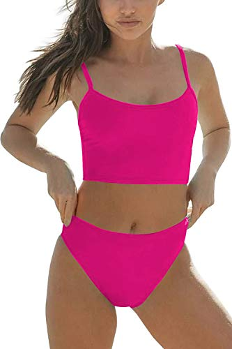 Women Athletic Two Piece Bikini Set Sports Crop Top Swimsuit Cheeky High Waisted Bathing Suits Rose