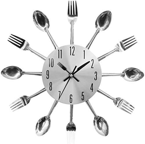 SEENPLIFE Reloj de Pared de Cocina, Relojes de Pared de Cocina creativos y Modernos en 3D con Tenedores y cucharas, Gran decoración para el hogar y Bonitos Regalos