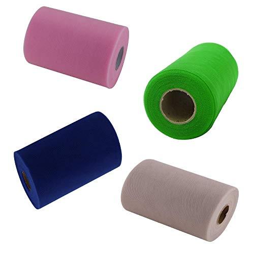 Trimming Shop Tule Roll DIY Netting Stof Spool Tutu Rok Wrapping Bruidssluier Boog Bruiloft Party Décor Gifting, Verschillende kleuren (100 Yards x 4 Rolls)
