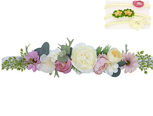 Handmade Flower Sash Belt for Maternity Pregnancy Baby Shower Wedding Party, Color 1, 1.8'' 91 ''